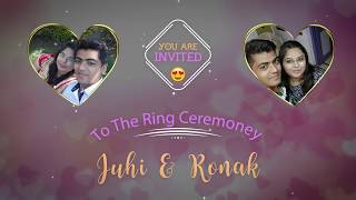 Ring Ceremoney invitation | Juhi + Ronak