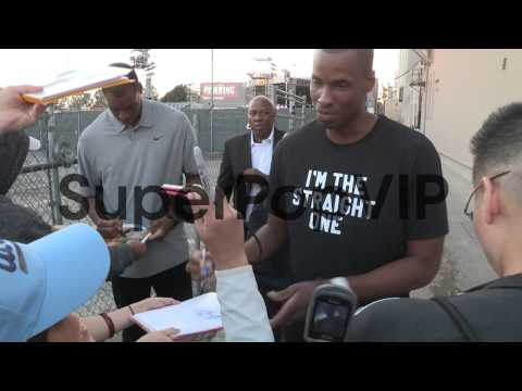 Jason Collins and Jarron Collins greet fans in Hollywood,...