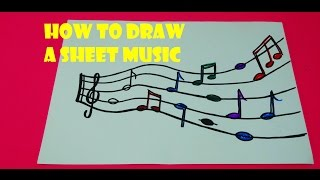 How to Draw a Sheet Music,easy drawing