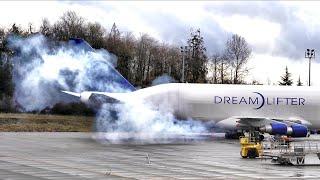 Smokey Engine Start Jumbo Jet Cargo Plane