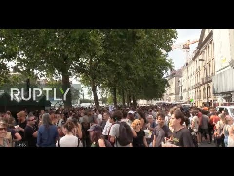LIVE: 'March of Silence' and protest against police brutality hit Nantes after festival-goer's death