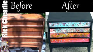 146. Paint Pouring On Furniture. Refinished Nightstand. Fluid Art. Before and After