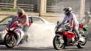 BMW S1000RR, Fireblade & SRAD Burnout, Wheelie and RL! 600RR Daytona R1 R6 ZX6R Hornet - Bikers 62