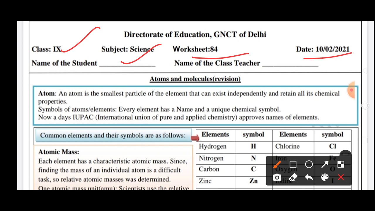 medium resolution of Class - 9 Science worksheet   Atoms and Molecules   10.02.2021 - YouTube