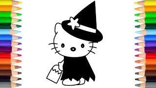 怎样画吉蒂猫过万圣节 let
