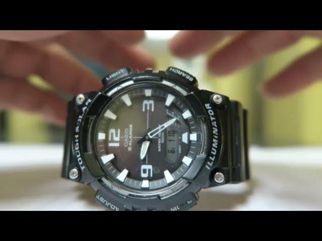 cuatro veces Amperio Alfombra  Cómo Cambiarle La Hora Al Reloj Casio AQS810 5 Alarmas Solar /  @jorgeherreramx - YouTube