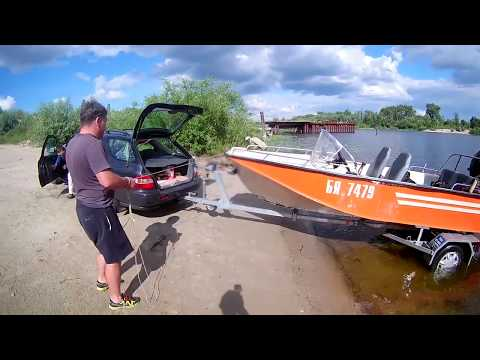 Сухой спуск с лафета на воду лодки Воронеж