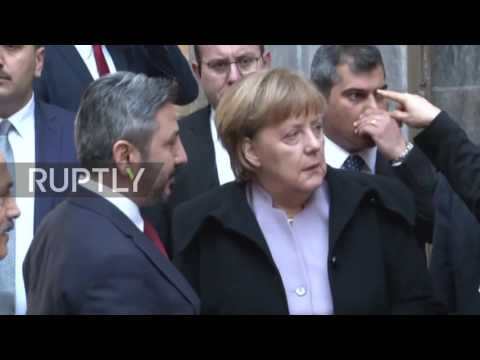 Turkey: Merkel visits bombed-out section of Turkish Parliament in Ankara