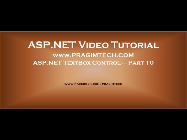 ASP.NET TextBox Control Part 10
