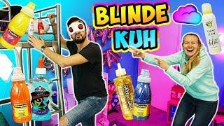 BLINDE KUH in der Wolke SLIME CHALLENGE Kathi vs Kaan | Wer findet blind die besten Schleim Zutaten?