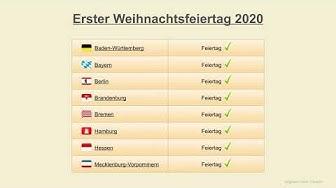 Erster Weihnachtsfeiertag 2020 - Datum - Feiertage Deutschland 2020