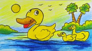 How to draw duck in pond step by step for kids with color (very easy drawing)