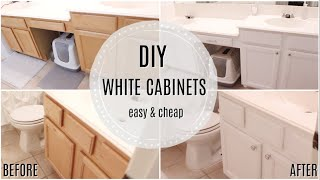 DIY WHITE CABINETS | EASY & CHEAP BATHROOM MAKEOVER