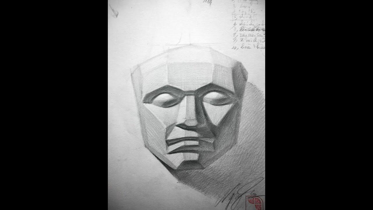 Lớp Dạy Vẽ A.G – Hướng dẫn vẽ tượng Mặt Nạ Phạt Mảng – luyện thi khối V-H ( 01689 555 205 )