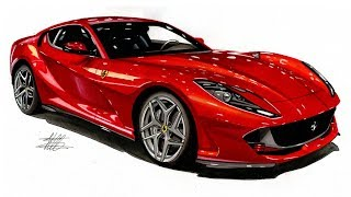 Realistic Car Drawing - Ferrari 812 Superfast - Time Lapse