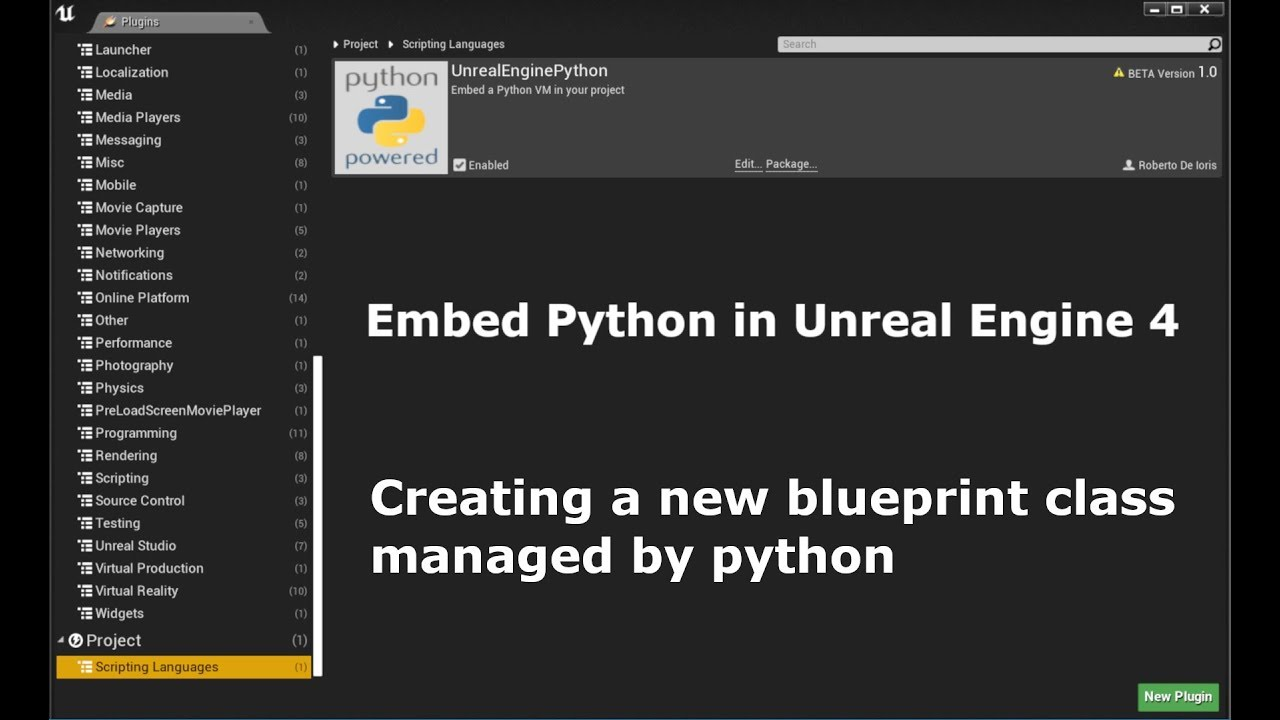 Unreal Engine 4 Creating a new blueprint class managed by python
