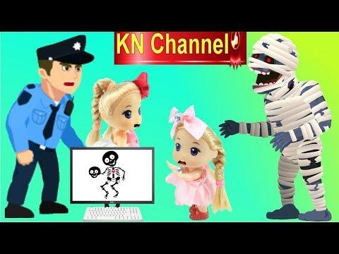 Đồ chơi trẻ em QUÀ TẶNG HALLOWEEN BẤT NGỜ VÀ SỰ CỐ THANG CUỐN CỦA BÚP BÊ KN Channel
