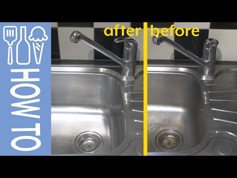 How to clean stainless steel sink and polish tap, using cif, peek polish and barkeepers friend