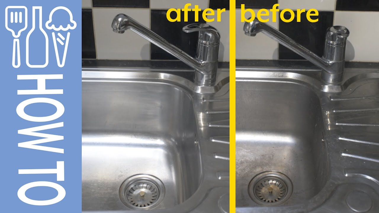 how to clean stainless steel sink and polish tap using cif peek polish and barkeepers friend
