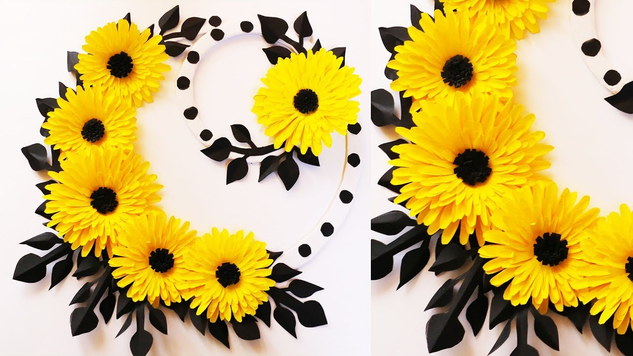 Diy Paper Flower Wall Hanging Easy Wall Decoration Ideas Paper Craft Diy Wall Decor Youtube