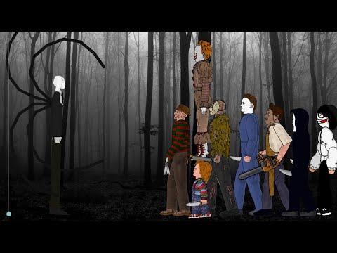 SLENDER MAN Vs Jason, Freddy, IT Pennywise, Michael Myers, Leatherface, Chucky, Ghostface, Jeff