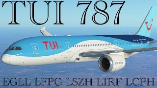 TUI 787 EGLL-LFPG-LSZH-LIRF-LCPH Hi welcome to my channel, I stream...