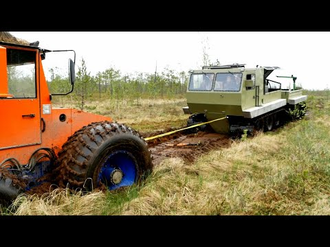 Вездеходы ГИДРОТРАК и ТРОМ-17.  Битва на тяжёлом болоте.
