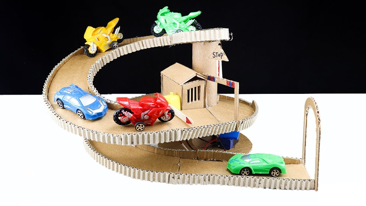 How to Make Cardboard Toy Car Garage with check Post DIY Parking
