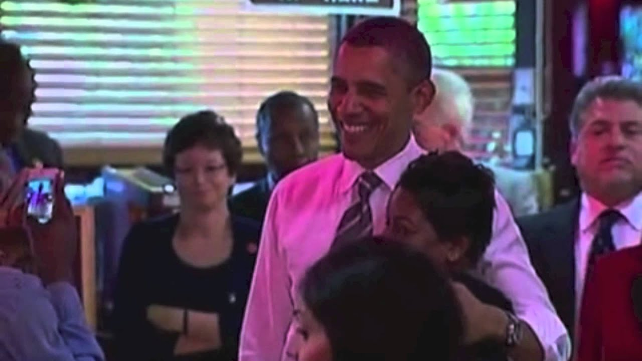 President Obama Talks to People at Roscoe's