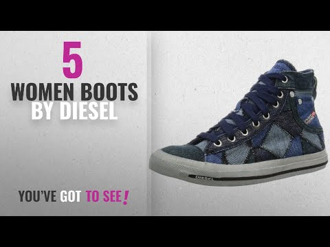 Top 10 Diesel Women Boots [2018]: Diesel Exposure iv W Blue White Womens Canvas Trainers Boots-4
