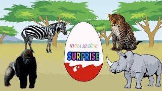 Киндер Сюрпризы и дикие животные Африки. Грузовик везет сюрпризы. Мультик