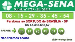 RESULTADO MEGA SENA - 1753 - 21/10/2015 - quarta-feira - SorteMegaSena