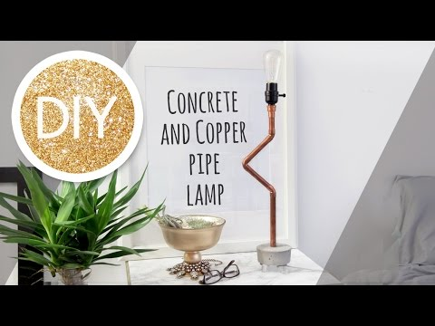 How to make a concrete and copper pipe lamp tutorial
