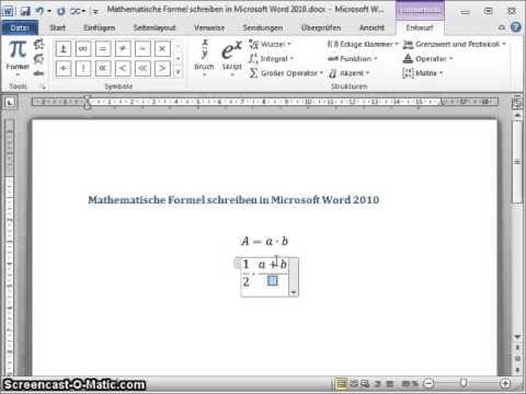 Formeln In Word Schreiben Youtube