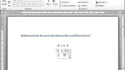 Formeln in Word schreiben