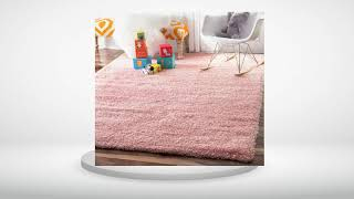 Soft & Plush Nursery Solid Baby Pink Kids Shag Area Rugs Reviews