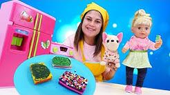 Ayşe, Gül, Loli renkli süslemeli pasta yapıyorlar! Hamur oyunları - eğlenceli etkinlikler!