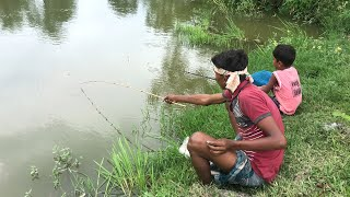 Amazing Village Smart Boy Fishing With Hook Traditional Hook Fishing - Village Daily Life