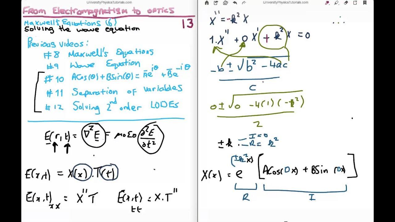 EM to Optics 13 : Solving the Electromagnetic Wave Equation