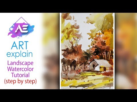 Landscape  Watercolor Painting Tutorial | How to paint a watercolor landscape | Art Explain