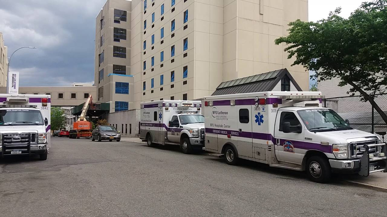 NYU Lutheran EMS Parked Outside NYU Lutheran ER In Sunset Park, Brooklyn,  New York