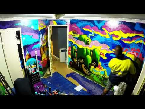 Spray paint bedroom mural theme adventure time youtube for Bedroom mural painting