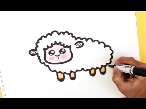 How To Draw A Cute Sheep Easy Youtube