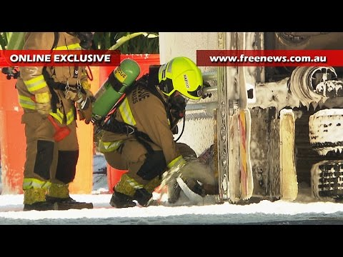"Brave fire fighters ""doused"" in fuel after petrol tanker crashes in Sydney Australia"