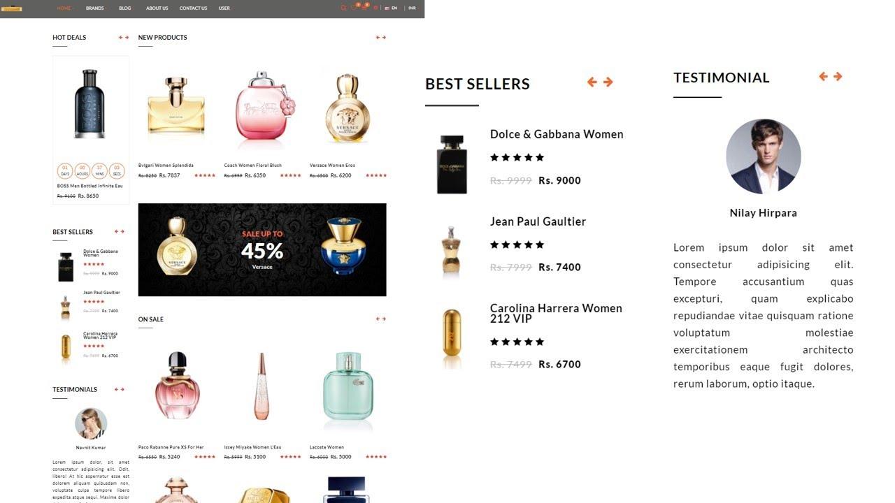 Responsive E-Commerce Website (Perfume Website) using HTML, CSS, jQuery   Part 8