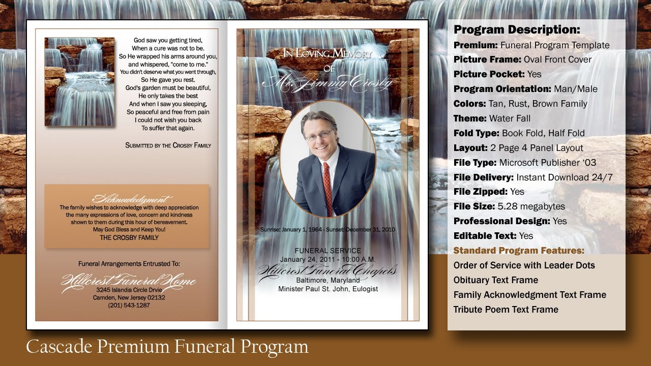 Funeral Program Cascade Template   YouTube  Free Funeral Templates Download