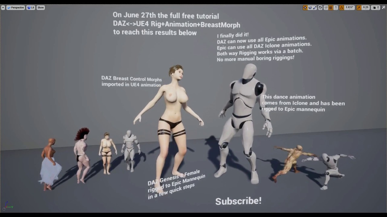 DAZ Unreal Engine Rigging + Animation + Breast Morph Tutorial Announcement