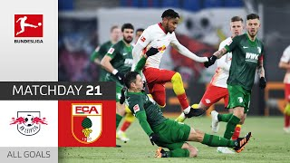 Olmo & Nkunku Consolidate Rank 2 | RB Leipzig - FC Augsburg | 2-1 | All Goals | Matchday 21