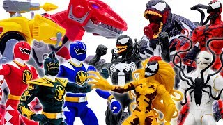 Power Rangers & Marvel Avengers Toys Pretend Play | VENOM ARMY vs Power Ranger Army