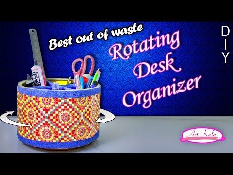 How to make rotating desk organizer | desk organizer | Best out of waste | DIY | Artkala 145